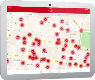 XFINITY WiFi Hotspot location map depicted on a tablet.