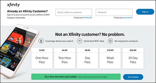 Xfinity Home Hotspots Access Page View on a Computer. Sign in page.