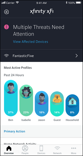 Security Status on the xfinity xfi app