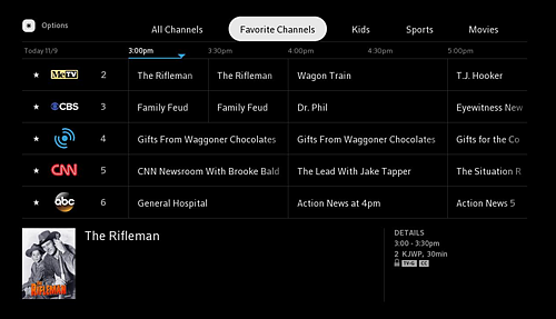 TV Listings screen for Favorite Channels.