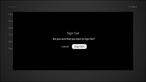 Sign Out screen with Cancel and Sign Out options.