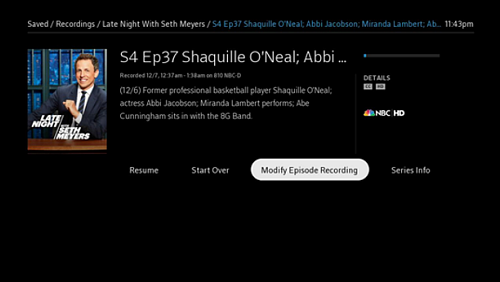 Episode information screen - Modify Episode Recording option highlighted.