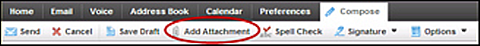 XFINITY Connect email toolbar with Add Attachment tab at center.