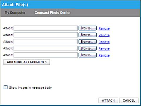 Attach File(s) screen.