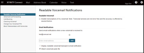 XFINITY Connect Readable Voicemail Notifications page.