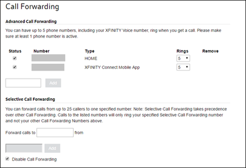 Instructions for Call Forwarding
