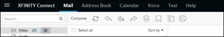 The new XFINITY Connect email toolbar.