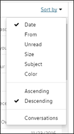 The options under the Sort by dropdown.