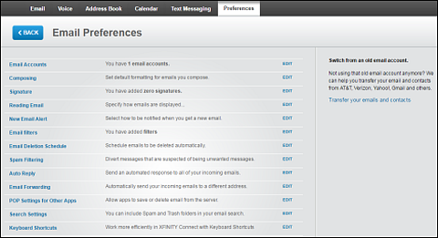 Email Preferences page.