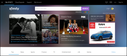 The Xfinity home page.