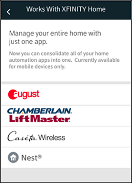 XFINITY Home mobile app - Works with XFINITY Home screen lists compatible devices.