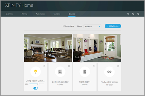 """XFINITY Home Overview screen. Click """"Add a Device"""" on the right to begin pairing your sensor."""