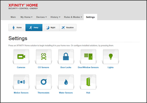 """XFINITY Home Portal Settings screen. Click """"Motion Sensors"""" in the lower left corner to continue."""