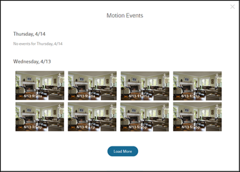 XFINITY Home Motion Events screen. See a list of automatically ...