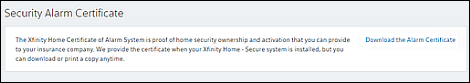 Download the Alarm Certificate is a hyperlink on the right side of the Security Alarm Certificate section