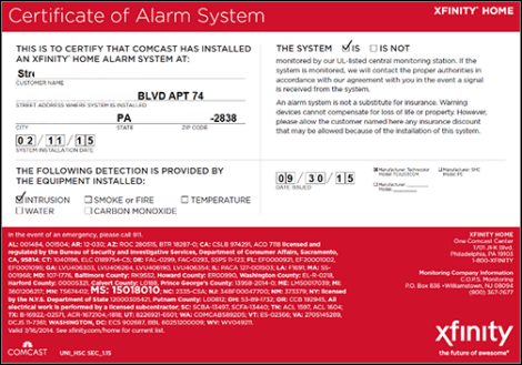 Xfinity Home Alarm Certificate Flisol Home
