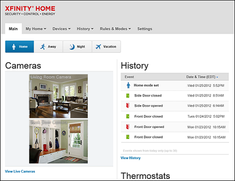 Previous XFINITY Home Subscriber Portal