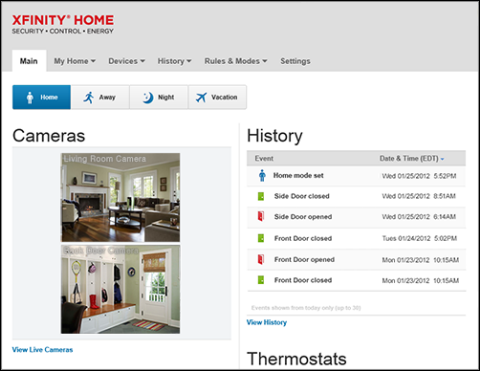 XFINITY Home - Automation Subscriber Portal main page shows arm mode, cameras, history and thermostats.