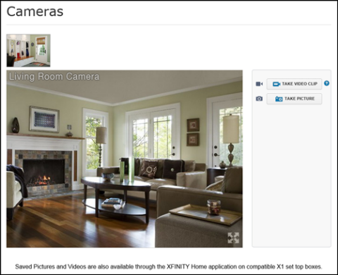 XFINITY Home - Automation Subscriber Portal - Cameras screen allows access to Camera views.