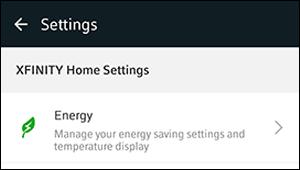 Opción de Configuraciones en XFINITY Home para acceder a las configuraciones de Energía.