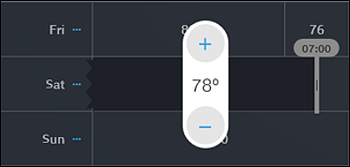 Change Temperature bar with plus (+) and minus (-) signs highlighted.
