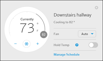 Device Details page with Thermostat box highlighted.