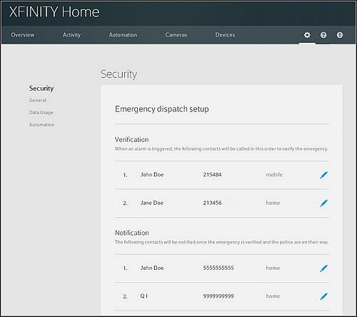 XFINITY Home Settings page.