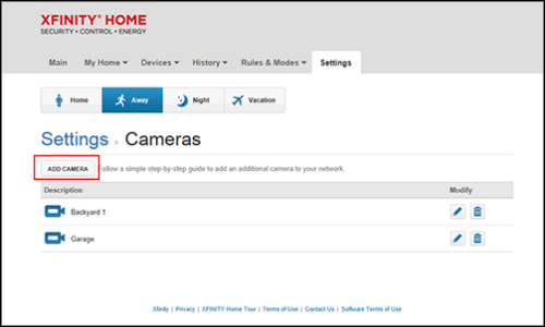"XFINITY Home Subscriber Portal Settings screen with ""Cameras"" selected. Click ""ADD CAMERA"" to continue adding your device."