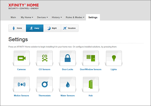 XFINITY Home Subscriber Portal Settings screen.