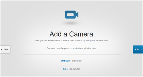 XFINITY Home Installation Central: Add a Camera page.