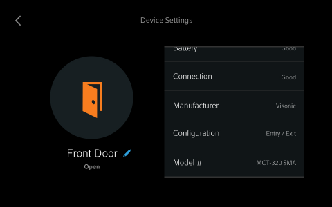 Sensor Device Settings screen.