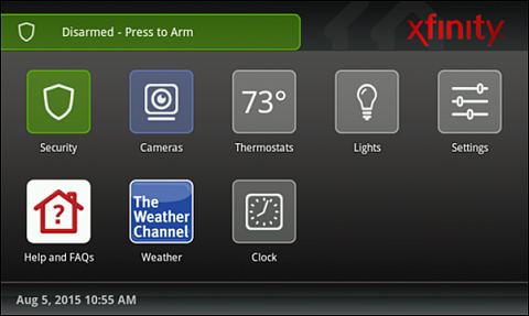 Touchscreen Controller's Home screen - Settings icon is in upper right row.
