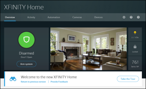XFINITY Home Subscriber Portal Overview page.