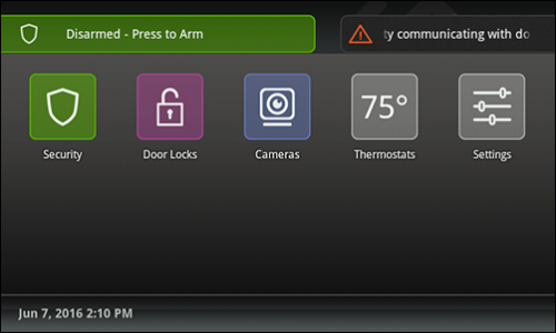 Touchscreen Controller Home screen with trouble icon in upper right.