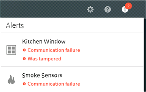 "Alerts screen with example alerts for ""Kitchen Window"" and ""Smoke Sensors""."