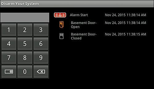 Disarm Your System screen with a dial pad for the Master Keypad Code.