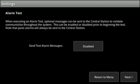 XFINITY Home Touch Screen Alarm Test Settings Central Monitoring Station alert screen, can enable or disable messaging to be sent to Central Monitoring Station when alarm test is underway