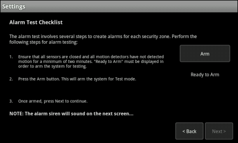 XFINITY Home Touch Screen Settings Alarm Test checklist screen with list of steps to prepare for alarm test; tap Arm to activate the alarm system