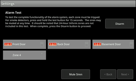 XFINITY Home Touch Screen Settings Alarm Test screen with active test underway and several sensors already triggered