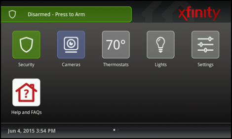 XFINITY Home Touchscreen Controller Home screen with icons.