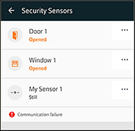 Security Sensors screen with status of devices highlighted. At the bottom of the screen is an alert,