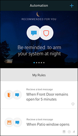 XFINITY Home app for mobile devices - Automation screen with created rules displayed.