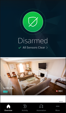 Overview Screen of the XFINITY Home app for mobile devices