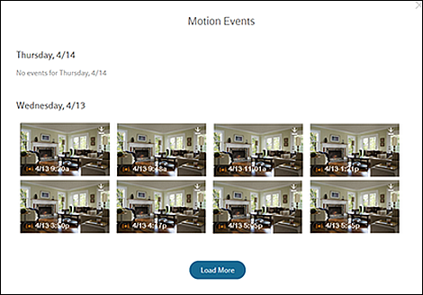 Motion Events screen.