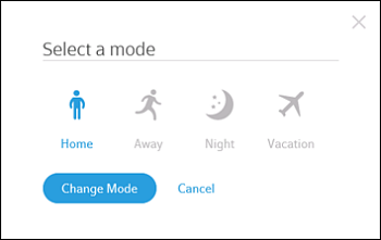 Select a mode box with options for Away, Home, Night and Vacation.