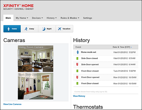 Main screen in the XFINITY Home Subscriber Portal.