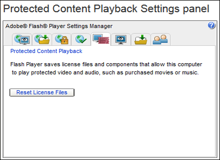 The Reset License Files button appears in the left center of the Protected Content Playback Settings panel.