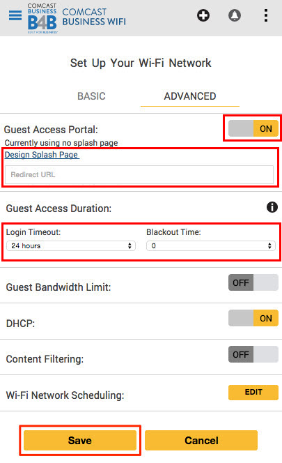 Configure the landing page for your Business WiFi Pro network