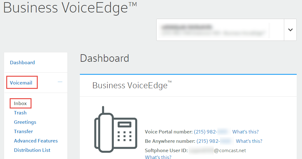Manage your business voiceedge voicemail settings comcast business expand the voicemail section and select inbox m4hsunfo