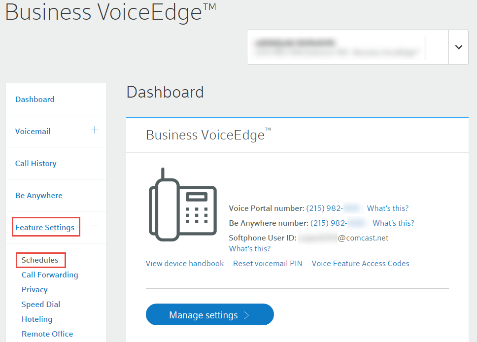 Manage time and holiday schedules for Business VoiceEdge | Comcast